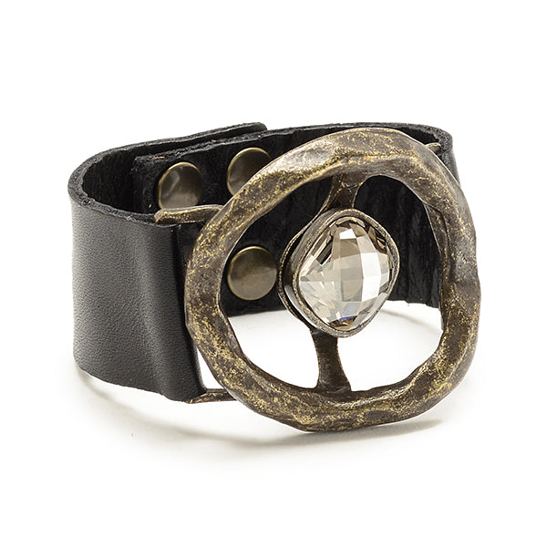 5177 single crystal leather bracelet, black w black diamond