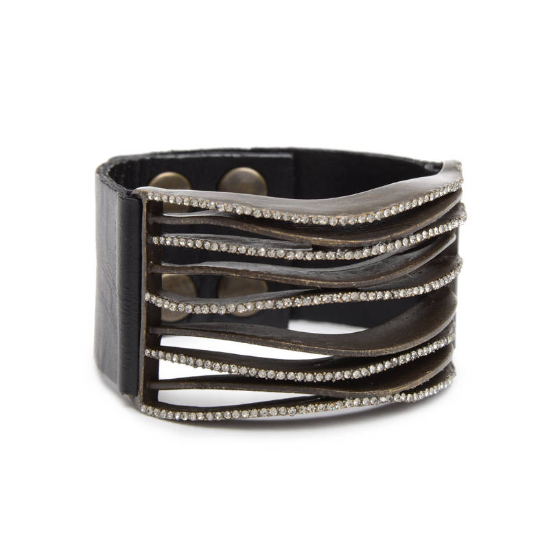 5199 wave bracelet black w black diamond
