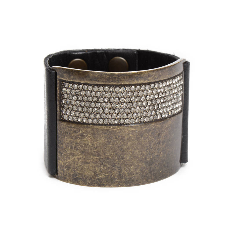 Large Metal with Crystal ID Leather Bracelet