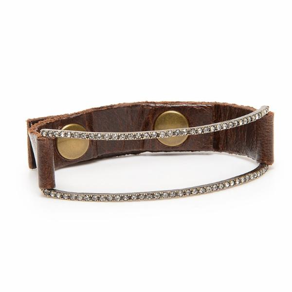 Pave Open Rectangle Leather Bracelet
