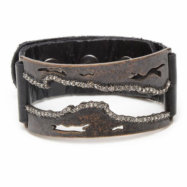 Rectangular Live Edge Crystal Leather Bracelet