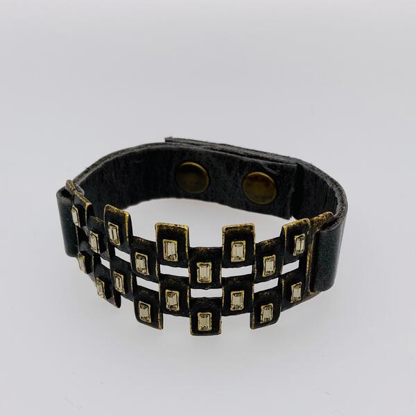Checkered Baguette Leather Bracelet