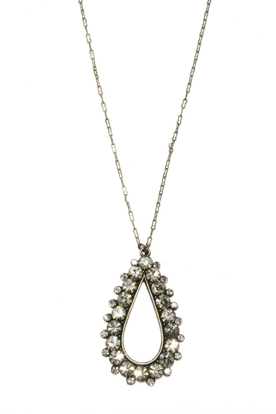 833 crystal tear drop necklace, black diamond
