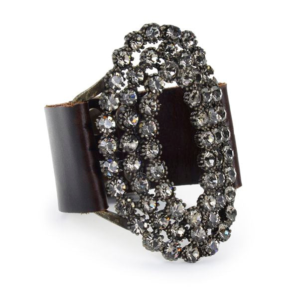 leather, crystal cuff