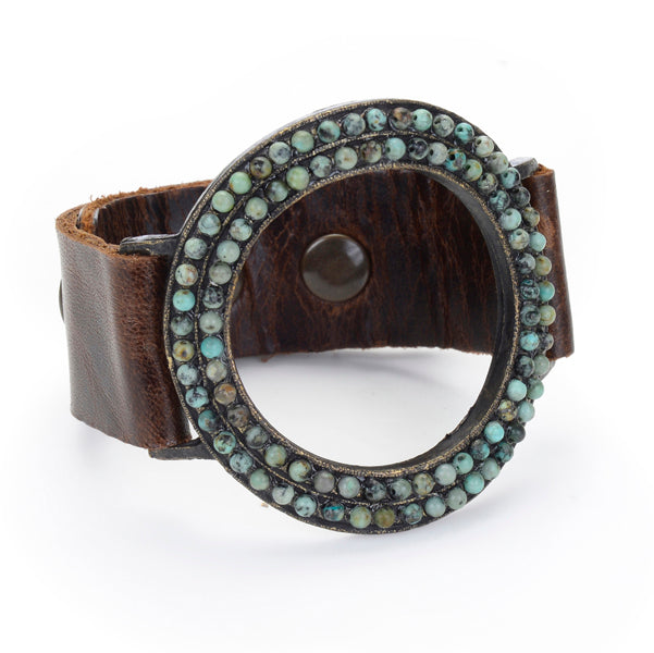 994 open beaded circle bracelet, vintage brown w African turquoise