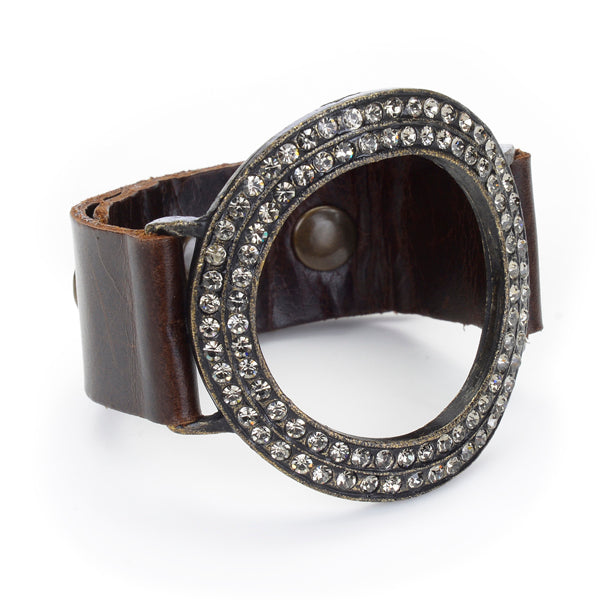 994 open circle crystal leather bracelet, vintage brown w black diamond