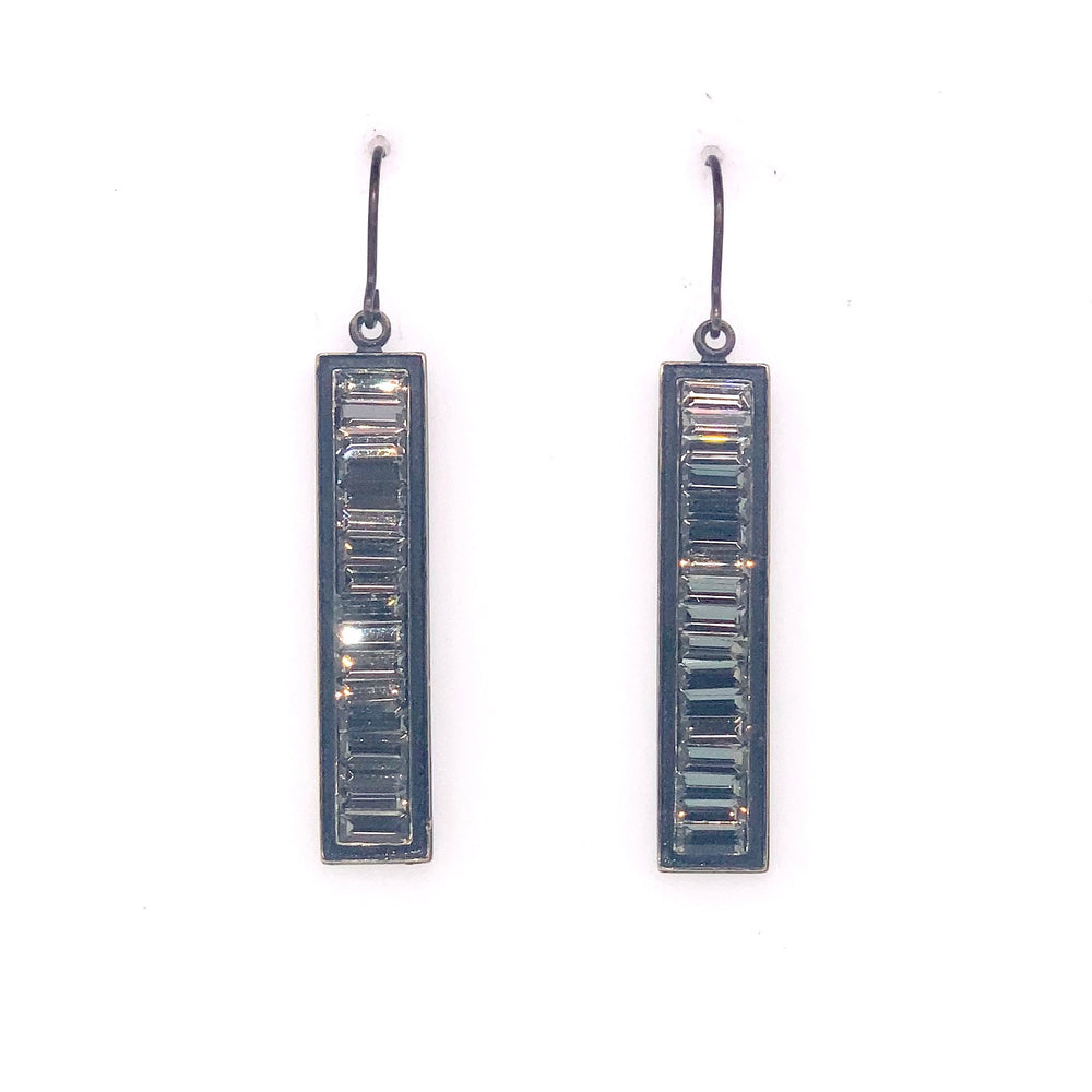 Rectangular Baguette Crystal Earrings