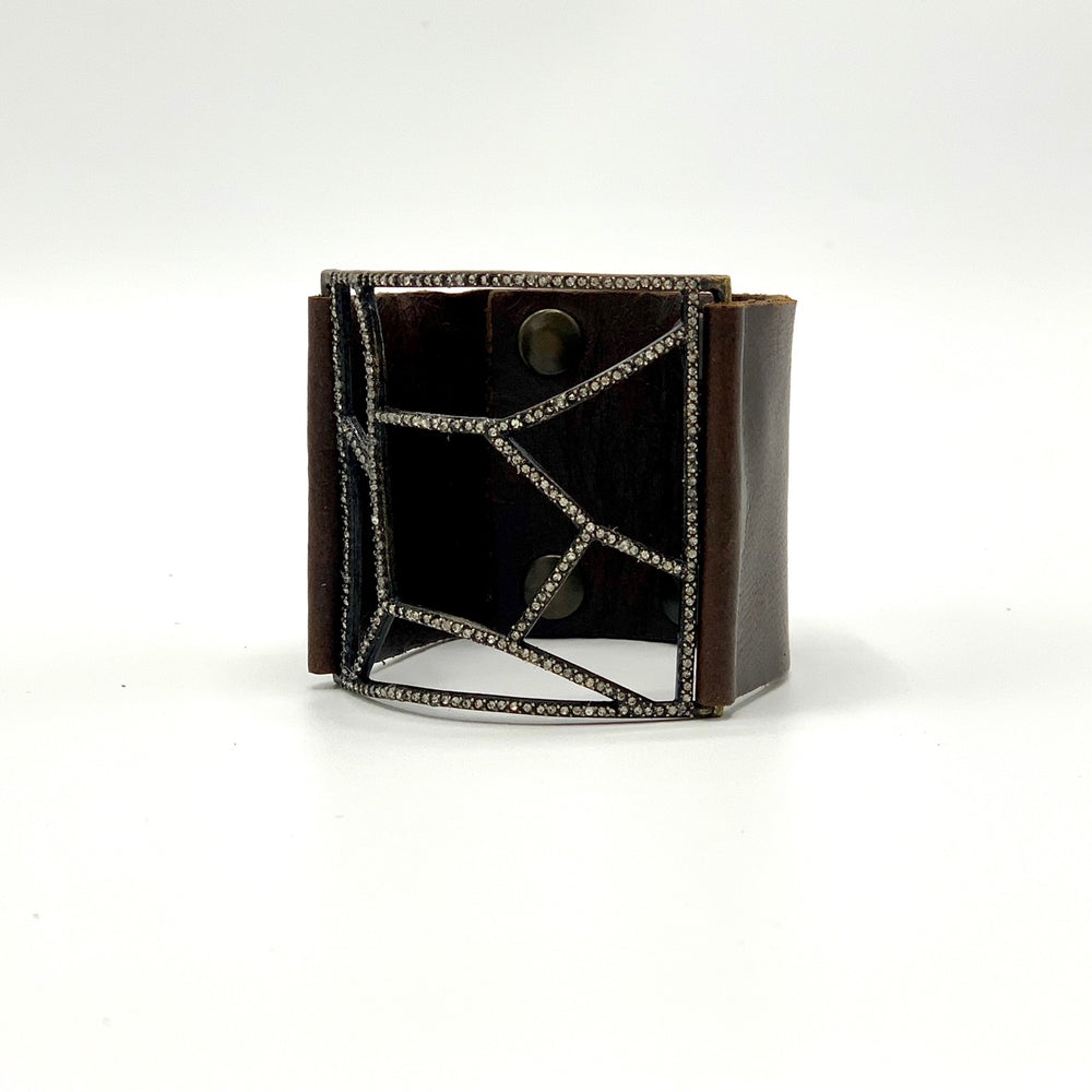 Pave Lined Open Rectangle Leather Bracelet