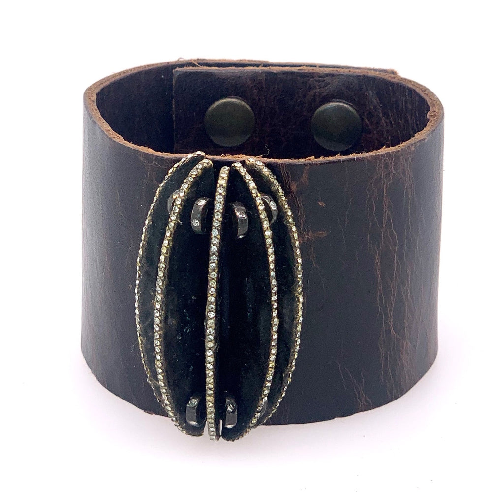 "Crystal Edge ""Book"" Leather Bracelet"