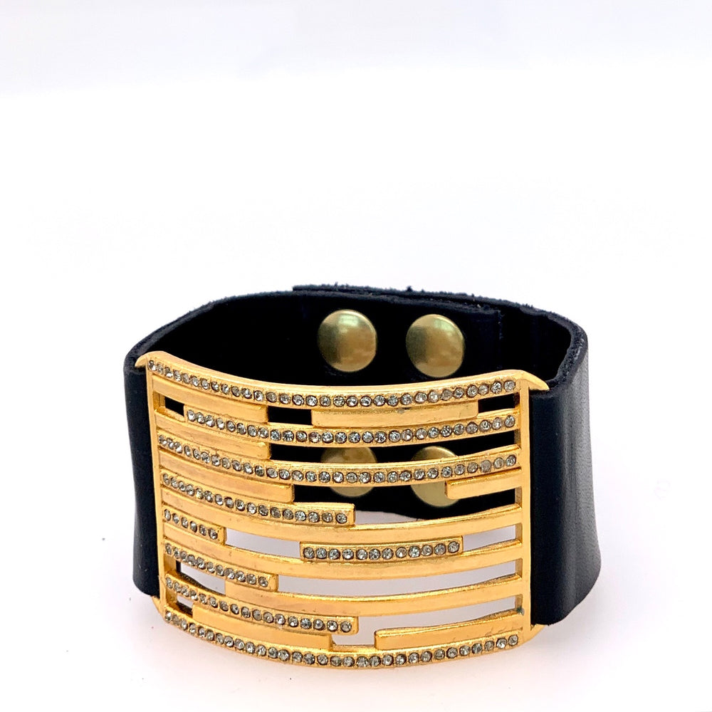 Lined Metal and Crystal Leather Bracelet