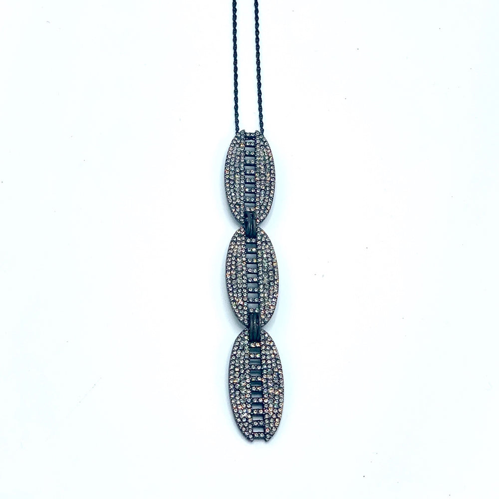 Triple Oval Pave Necklace