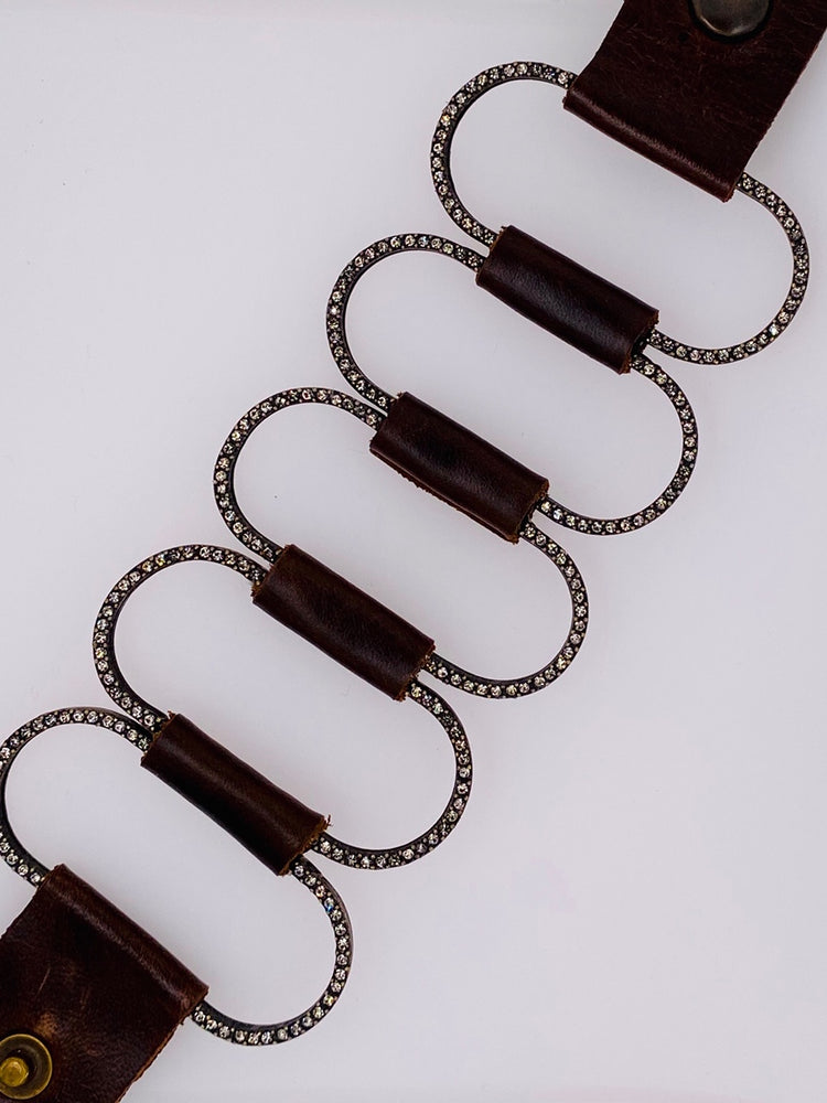 Open Oval Link Leather Bracelet