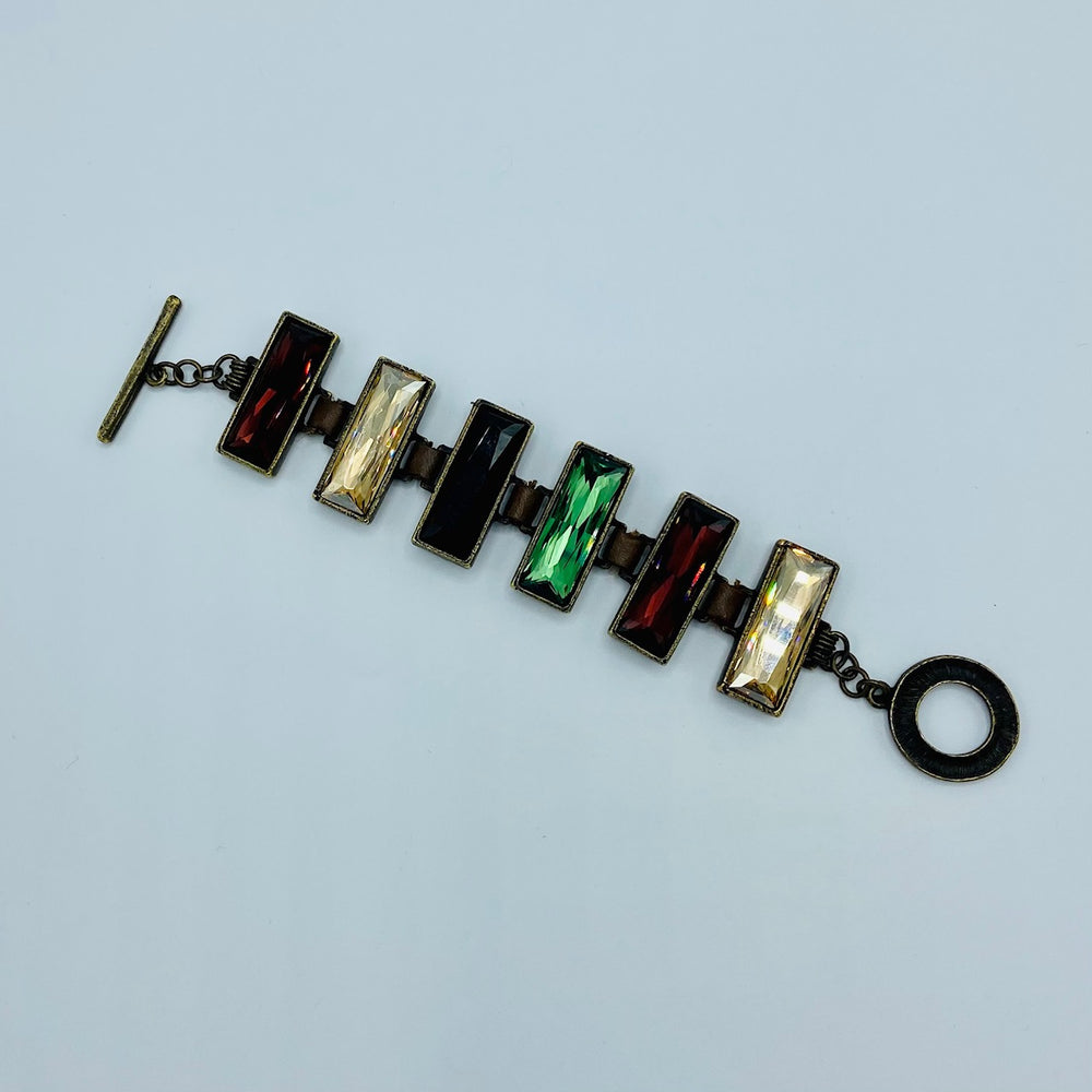 Multi Rectangle Crystal Toggle Bracelet