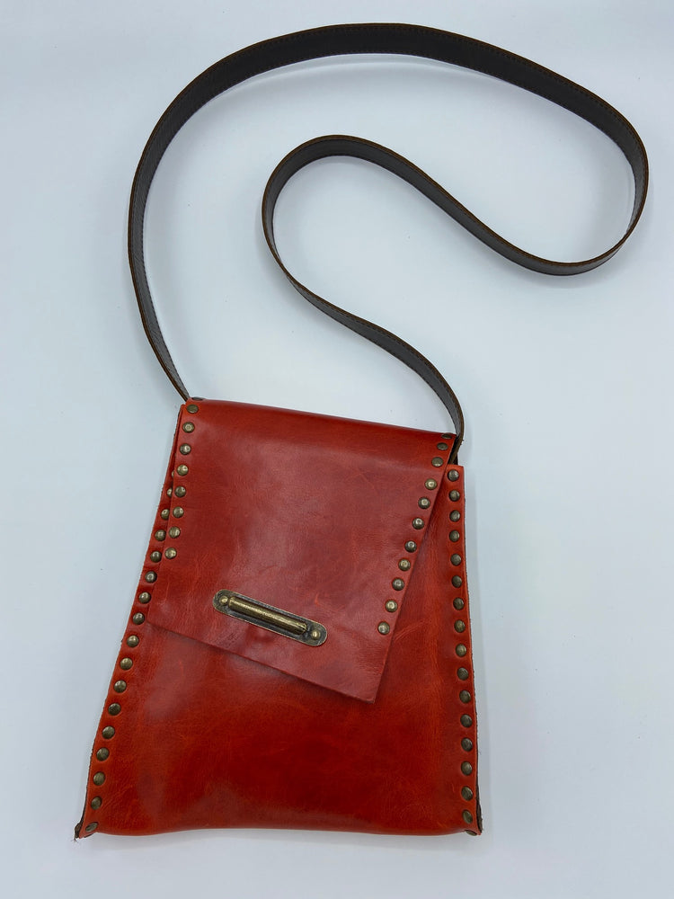 Slanted Cross Body Leather Bag