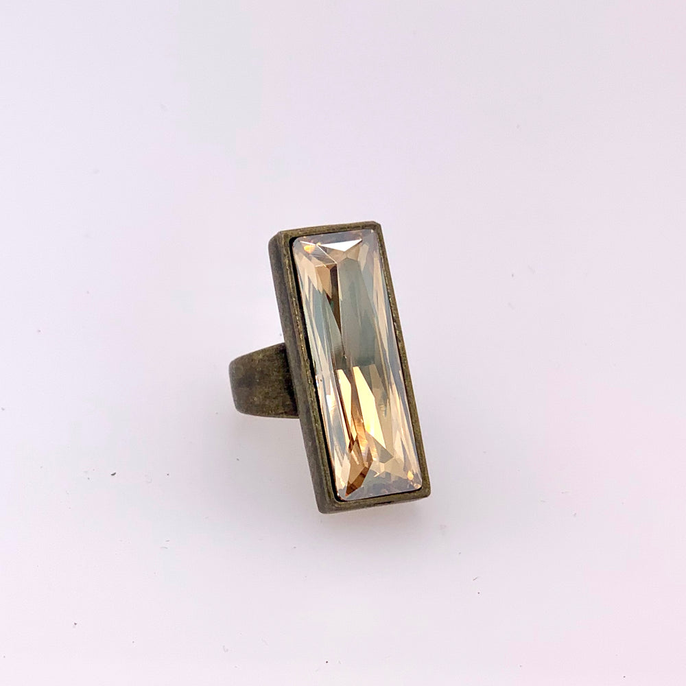 crystal ring, handcrafted
