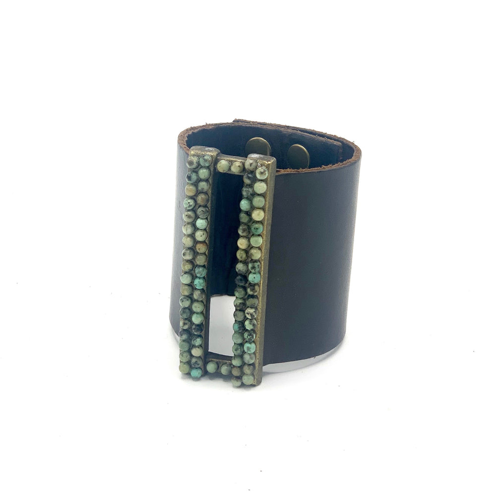 Wide Open Rectangle Leather Bracelet