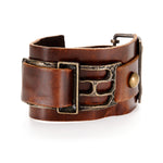 Rectangle Metal and Leather Bracelet
