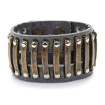 M145 railroad leather bracelet, grey
