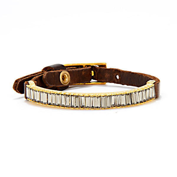 RR1012 baguette crystal bar skinny bracelet, vintage brown w black diamond