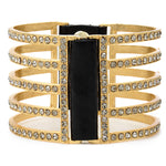 RR1028 double sided five bar bracelet, black w black diamond