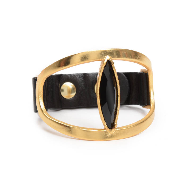 Open Oval w Oversized Navette Cuff in Gold