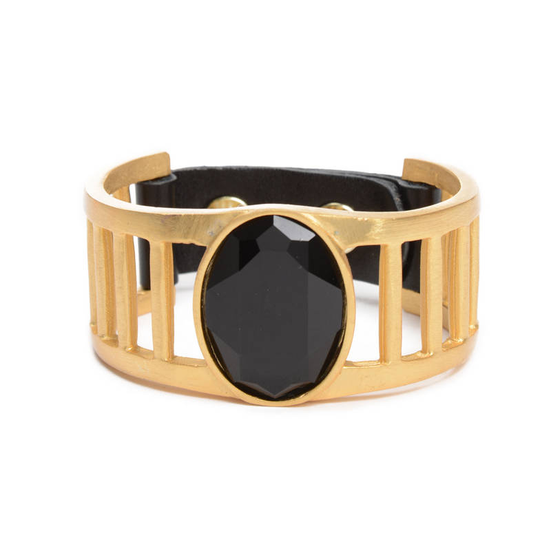 Gold Finish Metal Cage Leather Bracelet