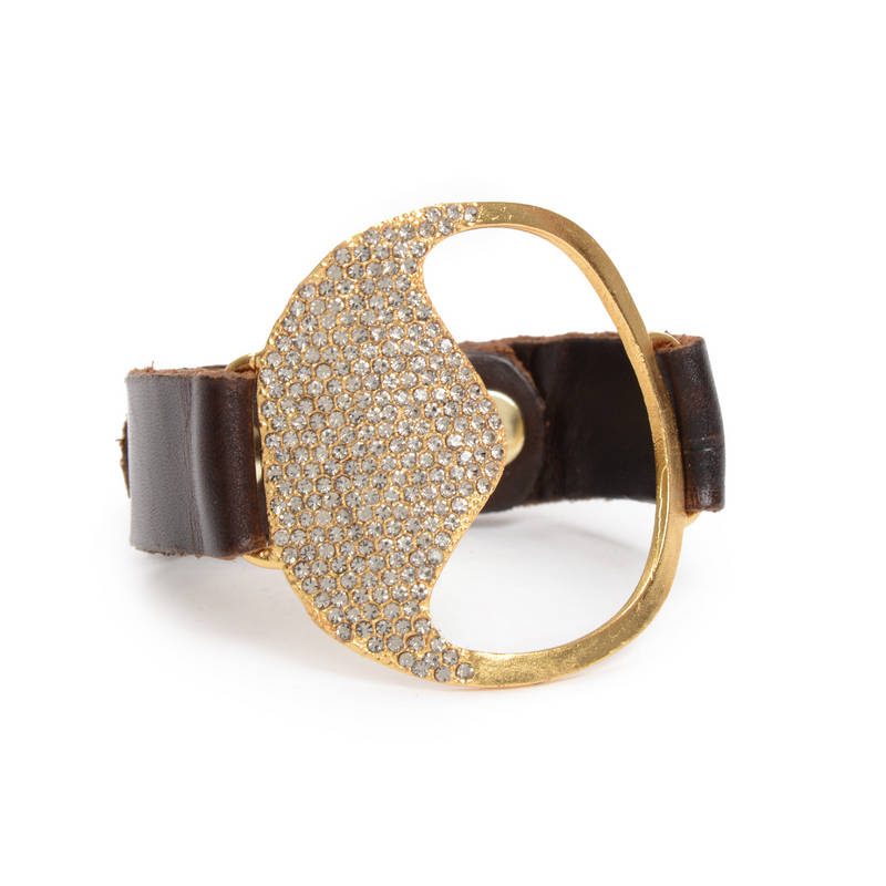 Large Apple Crystal Pave Leather Bracelet