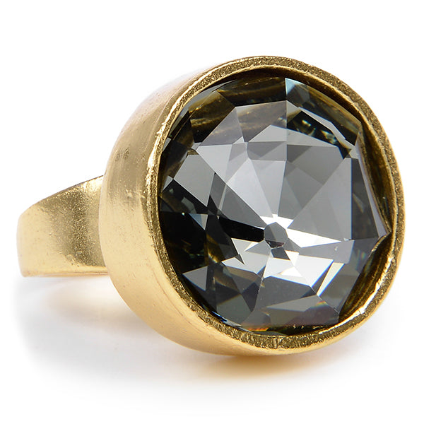 RR10 single crystal ring, black diamond