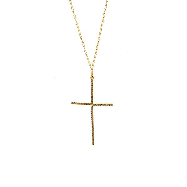 Double L Bracket Pave Cross Necklace