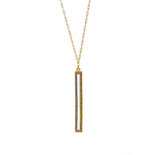 Skinny Rectangle Crystal Necklace