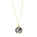 RR128 single Swarovski crystal necklace, black diamond
