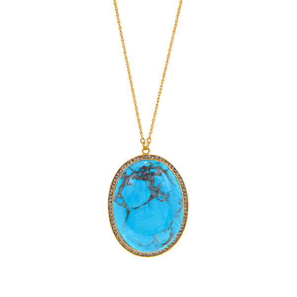 RR130 crystal encrusted cabochon necklace, light turquoise with black diamond