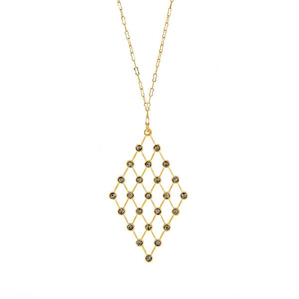 Diamond Lattice Necklace in Gold
