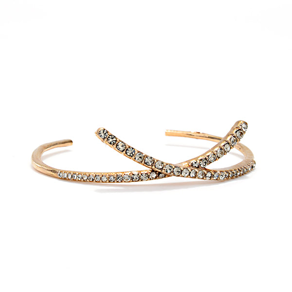 RR138 pave criss cross bangle bracelet, black diamond