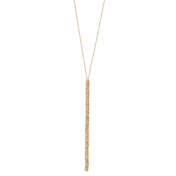 RR143/L 18K gold finish crystal stacked Y necklace, black diamond
