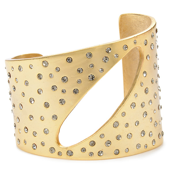 RR151 crystal studded metal cuff with black diamond