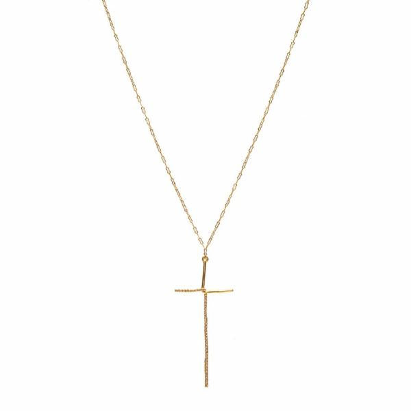 Elongated Crystal Pave Cross Necklace