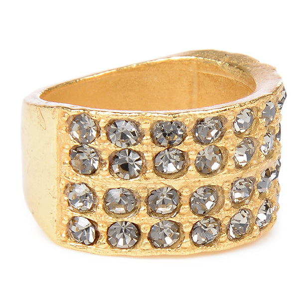 Gold Finish 4-Row Crystal Ring