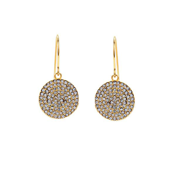 Small Round Disc Pave Earrings in Gold Finish
