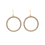 RR508 medium crystal hoop earrings, black diamond