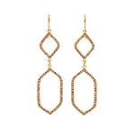 RR518 geo double drop earrings, black diamond