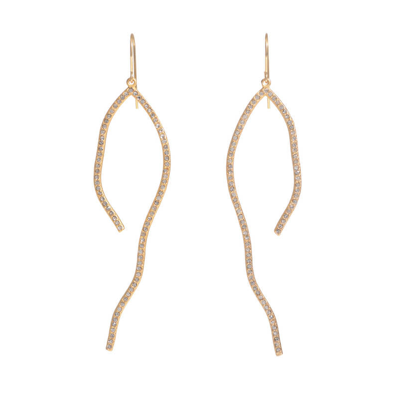 RR565 pave squiggle earrings, black diamond