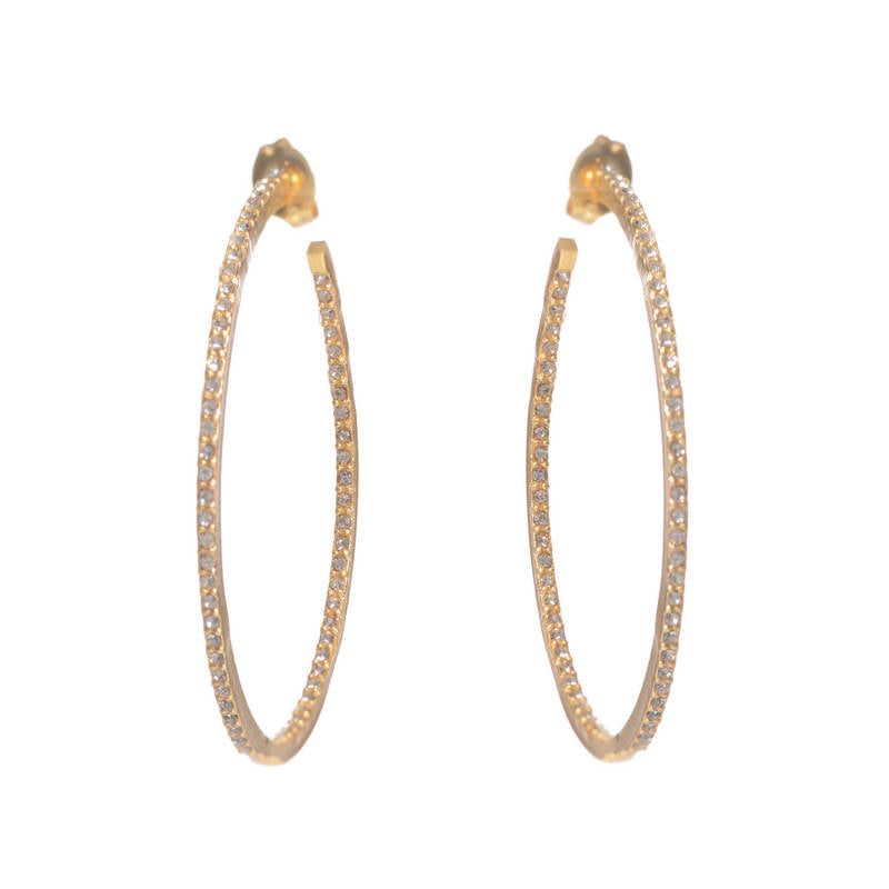 Small Crystal Hoop Earrings in Gold