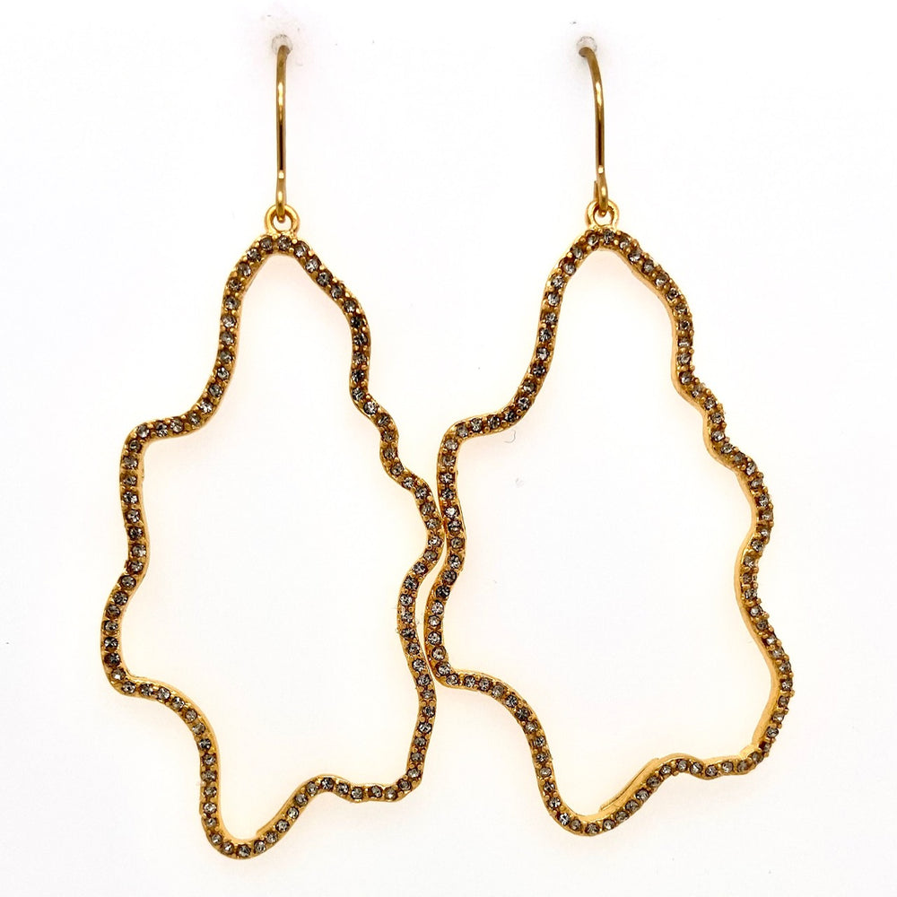 Open Squiggle Pave Earrings in Gold