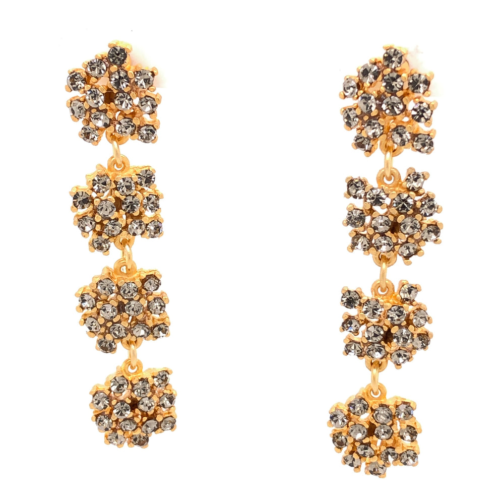 RR578 flower crystal drop earrings, black diamond