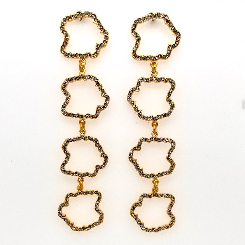 Open Squiggle Dangle Post Earrings in Gold