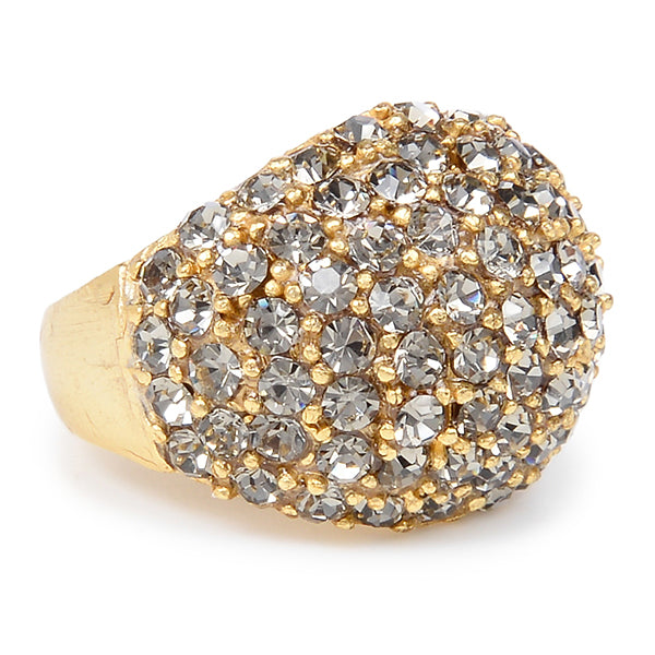 RR6 gold finish crystal dome ring, black diamond