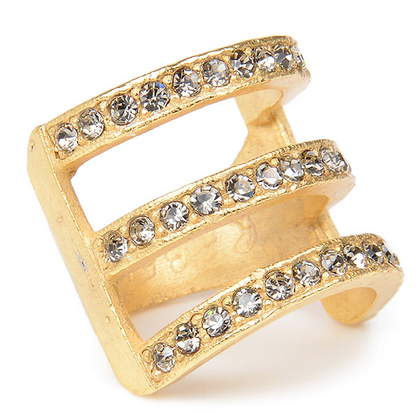 Three Row Gold Plate Crystal Ring