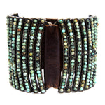 5034 Double sided curved bar bracelet, vintage brown w African turq