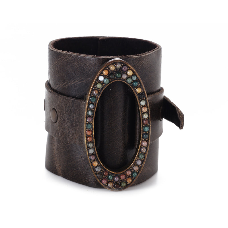 Wide Leather Cuff with Oval Metal Center